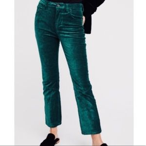 FREE PEOPLE Emerald Green Cropped Velvet Pant